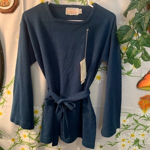NEW vintage 70s navy blue bell sleeve belted top